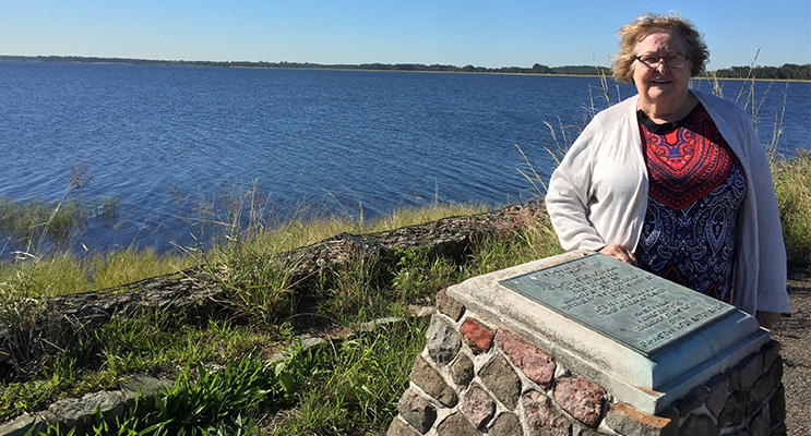 Gwen Tinsley Faulkner at Grahamstown Dam, overlooking her old family property.