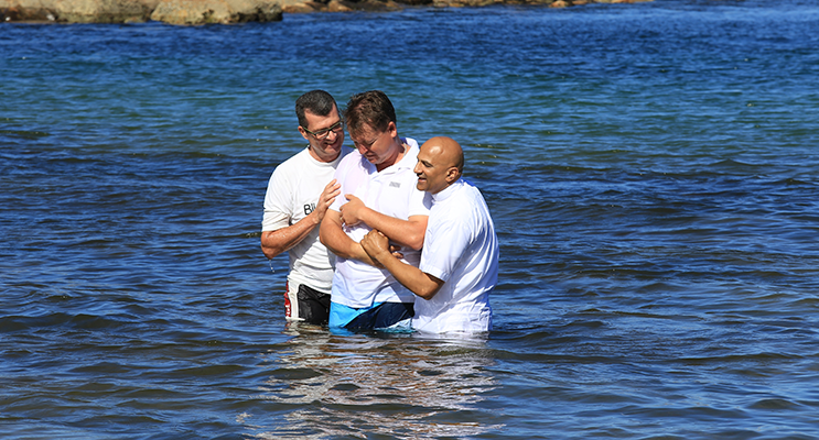 Jamie Torr making the big step of public baptism. Photo supplied.