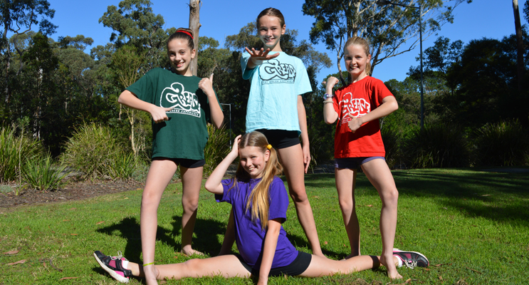Young dancers practice for arena spectacular, Grease: Hayley Carmody, Amelia Cochrane, Keira O'Brien, and Lilly Gorham in front.
