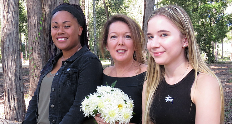 Happy Mother's Day: Lily and Katelyn Sibert with their loving mum, Leanne.