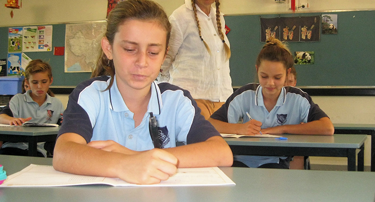 Calm and Relaxed: BCS Year 7 Advisor Ms Georgina Cunich with Carol Poniris and Grace Burke.