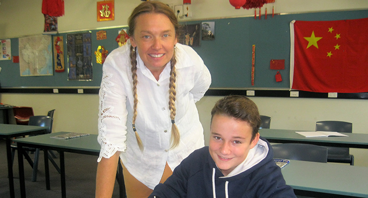 Support: BCS Year 7 Advisor Ms Georgina Cunich with Jarryd Schmidt.