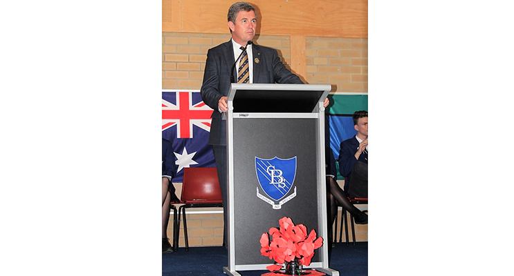 Federal Member for Lyne, Dr David Gillespie, at the BCS ANZAC Assembly.