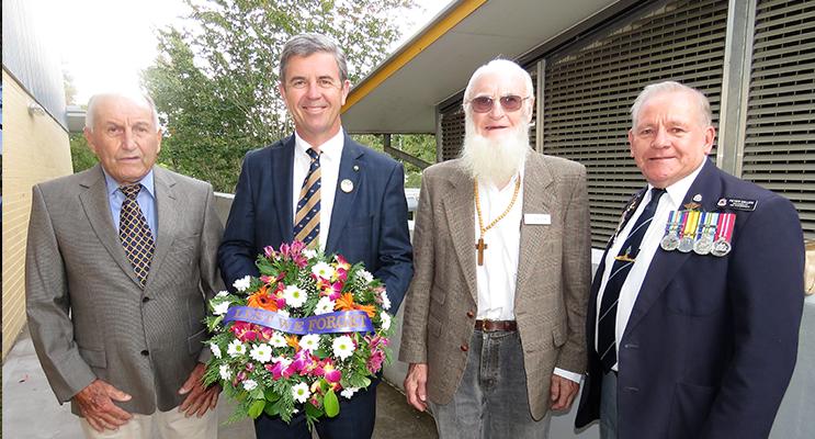 BCS ANZAC Assembly: John Hooper, Federal Member for Lyne Dr David Gillespie, Frank Horwill and Bulahdelah RSL sub-branch President Peter Millen.