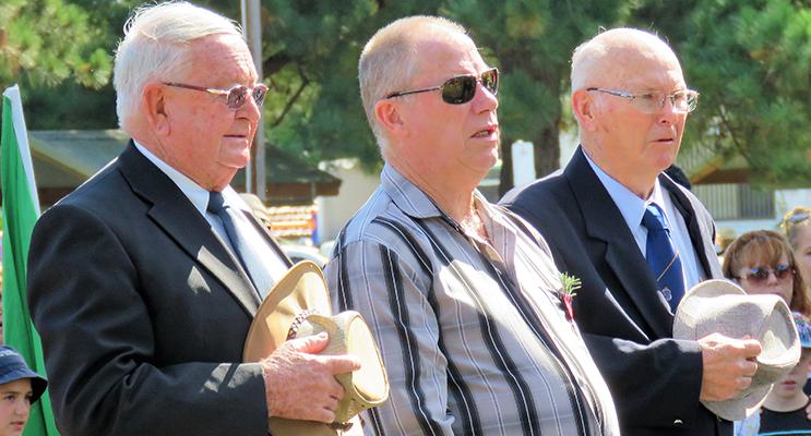 Bulahdelah ANZAC Commemoration: Dennis Coulter, Roger Dixon and Max Burrows.