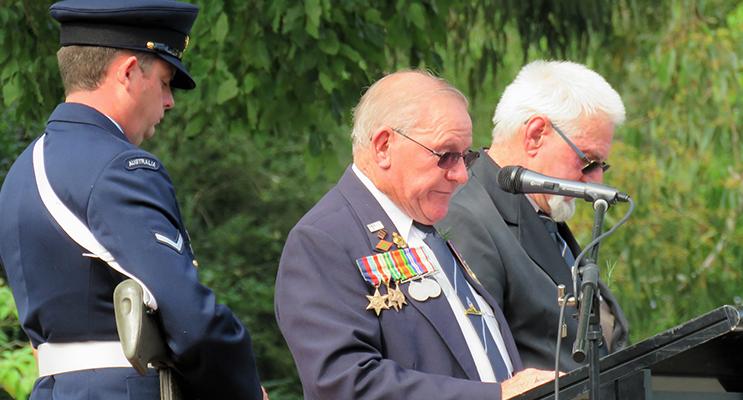 Bulahdelah RSL sub-branch President Peter Millen and Vice-President Steve Newman lead the Commemoration Service.