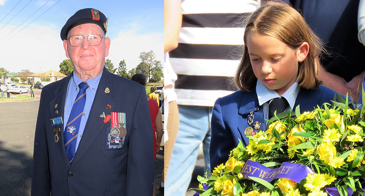 Bulahdelah RSL sub-branch member John Renfrew. (left) Polly Sullivan lays a wreath at the Bulahdelah ANZAC Commemoration.(right)
