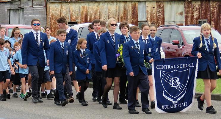 Bulahdelah Central School Captains in the ANZAC March.