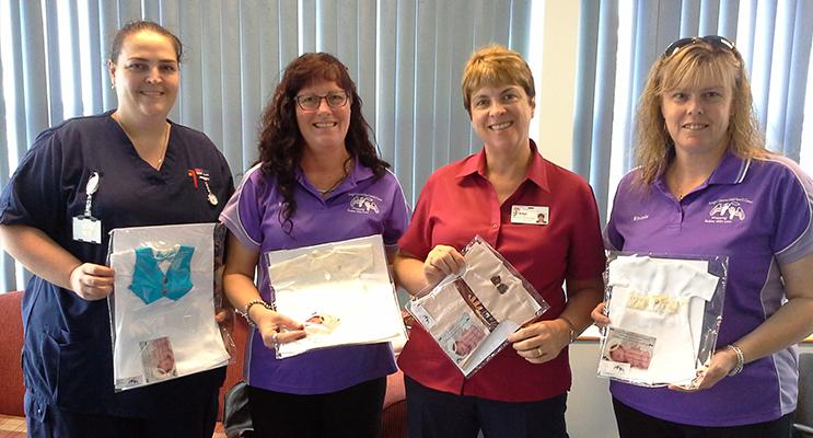 Liz, a NSW Health Midwife, Kym from Angel Gowns Mid North Coast, Robyn a NSW Health Nursing Unit Manager and Rhonda from Angel Gowns Mid North Coast.
