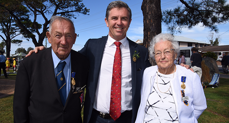 ANZAC DAY: Ted Mowbray OAM, David Gillespie MP, Mavis Mowbray.