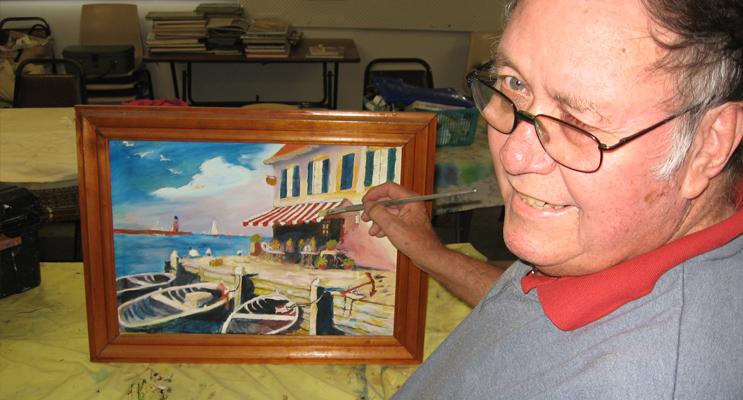 Noted local artist John Shorten at the self help group.