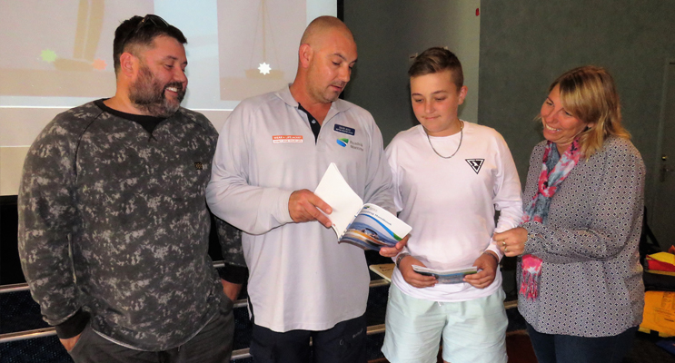 Beejay Freihaut, RMS Boating Education Officer Gavin Beck, Dylan Smith and Coordinator Melissa Smith.