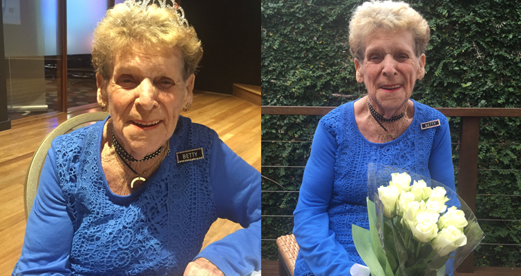 Betty Baker attributes her health and fitness to dancing. (left) Betty Baker boot scoots her way to 90. (right)