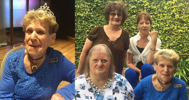 Betty Baker at her 90th birthday celebrations at Nelson Bay Diggers RSL. (left) 4.Nelson Bay Bootscooters: Back: President Mel Smith, Colleen Nash, Front: Denise Baker, Betty Baker.  Photos by Jo Finn (right)