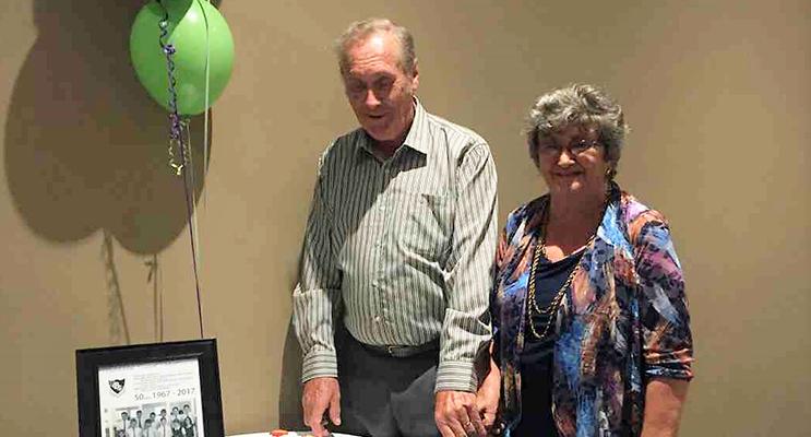 School Reunion: Former Kindergarten teacher Shirley Shultz and Industrial Arts teacher Don Lansdowne.