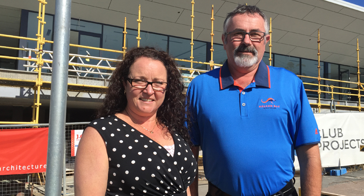 Sales and marketing manager Natalie Kelly and general manager Trevor Harrison in front of the new clubhouse. Photo by Jo Finn