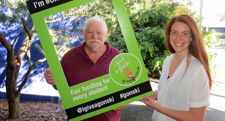 Give A Gonski For Students: BCS Teachers Shane Nunan and Megan Henry.
