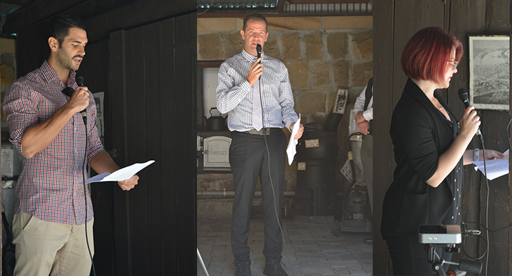Mr Joel Ross, History teacher at Tomaree, reading a soldier's letter to an attentive audience. (left) Local poet, Mr Mark Wilson, reading The Diggers Last Battle.(center) Ms Melanie Innes, PhD candidate, telling the experiences from a soldier's perspective.(right)