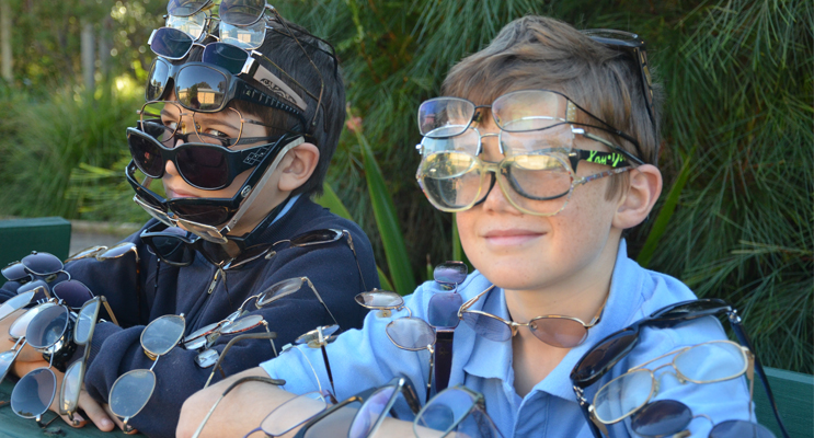 RECYCLE FOR SIGHT: Students Cooper Studdert and Tyler Rodgers.