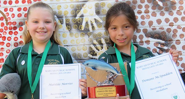 Karuah PS Medallions awarded to Matilda and Demani.