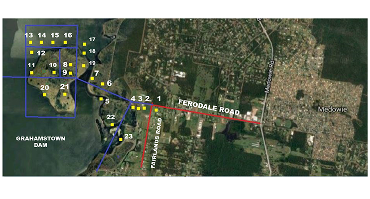 The red lines show the existing roads of Ferodale and Fairlands, and the blue lines show the old areas that were reclaimed for the dam, and the families that resided on the properties.