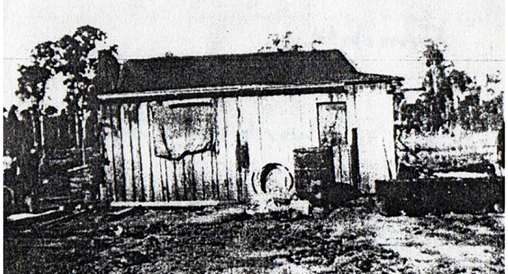 A modest hut owned by a family in 'Lost Medowie'.