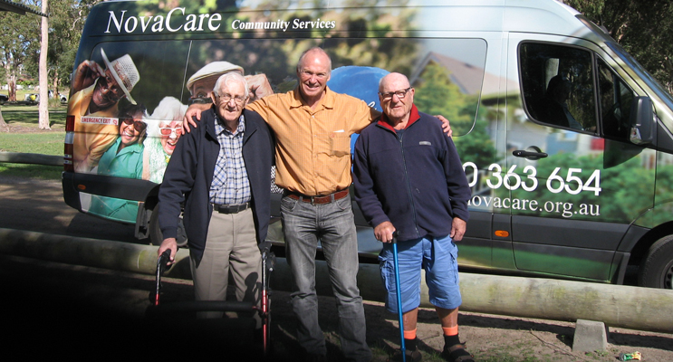 'Fantastic!' Ken Jury flanked by Reg (93) and Fred (90) at Caswell Reserve Mallabula.
