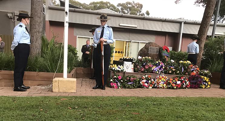 Medowie's ANZAC Day Ceremony. Photo supplied by Mr John Tunbridge