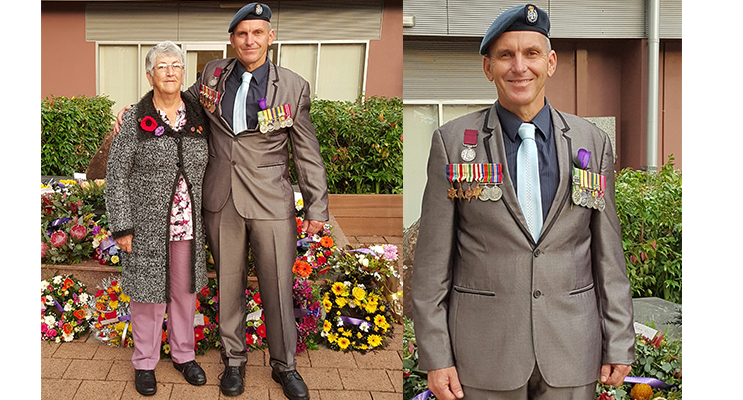 Former Defence Military Working Dog Handler, Mr Steve Withey of Medowie with his mother-in-law, Ms Lillian Weston of Williamtown. (left) Mr Steve Withey of Medowie proudly shows his medals. (right)