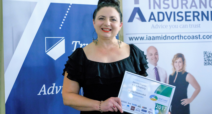 Business Leader: Denise Haynes with her Highly-Commended Award. Photo: Manning Focus Magazine