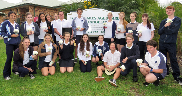 Mother's Day Visit: BCS Year 12 students deliver flowers and gifts to residents at Great Lakes Aged Care.