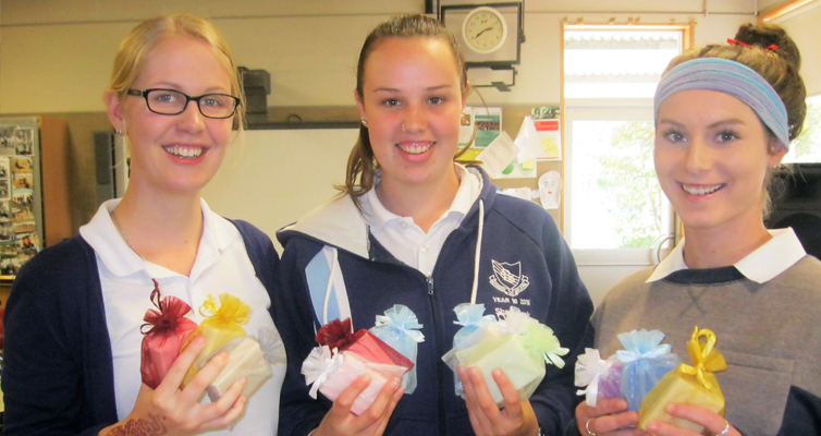 Mother's Day Gifts: BCS Year 12 students Kaitlyn Gregory, Shae Finch and Bianca Mason.