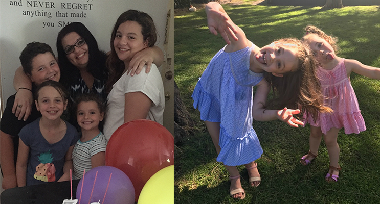 Kiah, Jack, Summah and Lillianah Skaines with their Mum.(left) Maddy and Ava Lochhead have a special message for their Mum. (right)