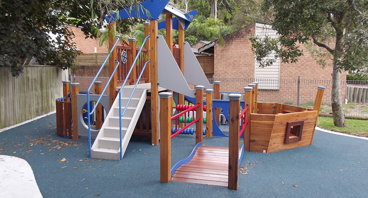 The new marine-styled play equipment includes a soft fall area.