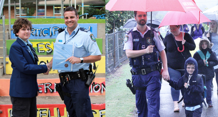 Senior Constable Ashley Ray presents the PBL Police Award to Oliver Gibbs. Photo: BCS (left) Senior Constable Dave Feeney joined students, parents and staff for the National Walk Safely to School Day. Photo: BCS (right)