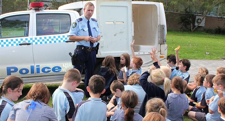 Liaison Office Senior Constable Stephen Jefferies talks about stranger danger with BCS students.