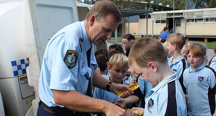 Building Positive Relationships: Senior Constable Stephen Jefferies with BCS students.