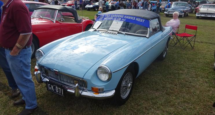 British: Graham Kelly's MGB (blue car).