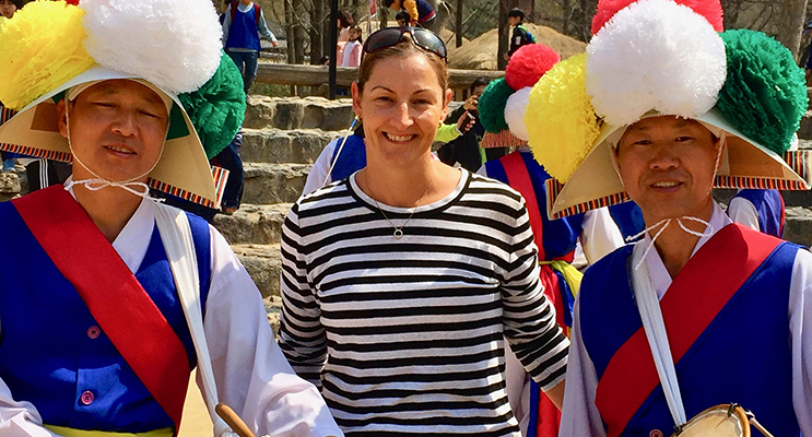 Principal Miss Young enjoying cultural highlight of her trip to South Korea.