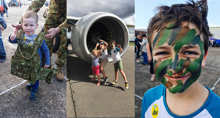 Young George had a blast seeing the jets and trying on uniforms. (left) Sophia, Lachlan and Hayden Reddon.(center) Hayden Reddon enjoyed the camouflage facepainting.(right)