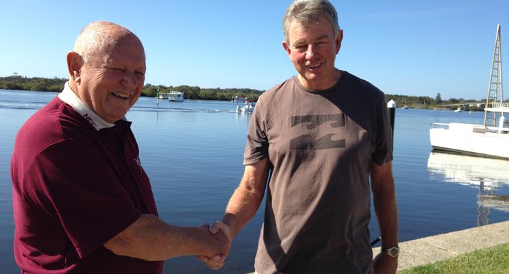 CLEANUP OPERATION: MRAG's Gordon Grainger and Lions Club Doug Allen.