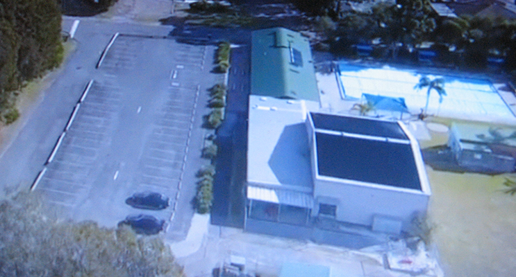 The solar heating system as seen from the drone.