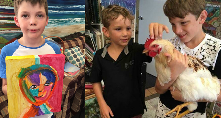 Cruze has loved learning about Art at the Art Shack. (left) Presley and Evan visiting the animals at the Art Shack. (right)