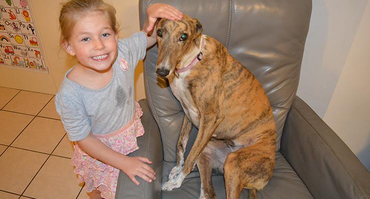 Elizabeth Kilday with Gemma the greyhound.