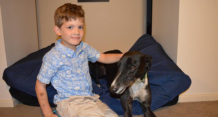 Michael Kilday with Neddy the greyhound.