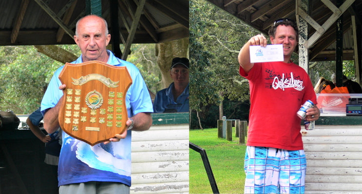 G2G Shield held by John Vaughan President TGCCFC.(LEFT) Jamie HNGCSC Winner Secret Fish. (right)