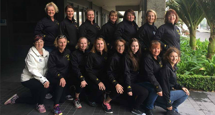 Medowie Masters Netball team - Babette Armstrong, Kylie Murchie, Nicole Trindorfer, Caroline Hollings, Kerry Whitty, Leanne Fray, Kate Callan, Umpire Jenny Withey, Lyn Summers, Kim Jones, Cheryl Smith, Narelle Triston, Coach Emma Triston, Cathy Hedges and Cherie Edwards.