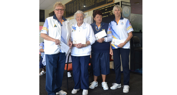 """Winners """"At Home Comp"""": 3rd place Carol Hayden, (absent Jan Kuzmic), 2nd place Dorothy Thompson and Jill McBride, 1st place Pat Baker."""