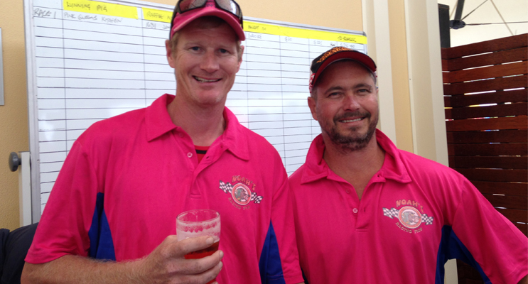 "PIG RACE ORGANISERS: ""Jimmy Rasher"" and Jeffery Bacon."