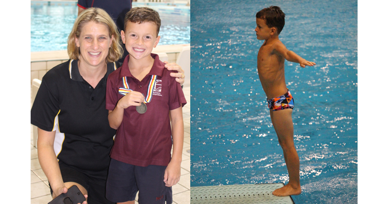 Joshua Lee with his first coach, Rebecca Manuel, who won a bronze medal at the Sydney Olympics in diving. (left) Joshua Lee, preparing for a dive. (right)